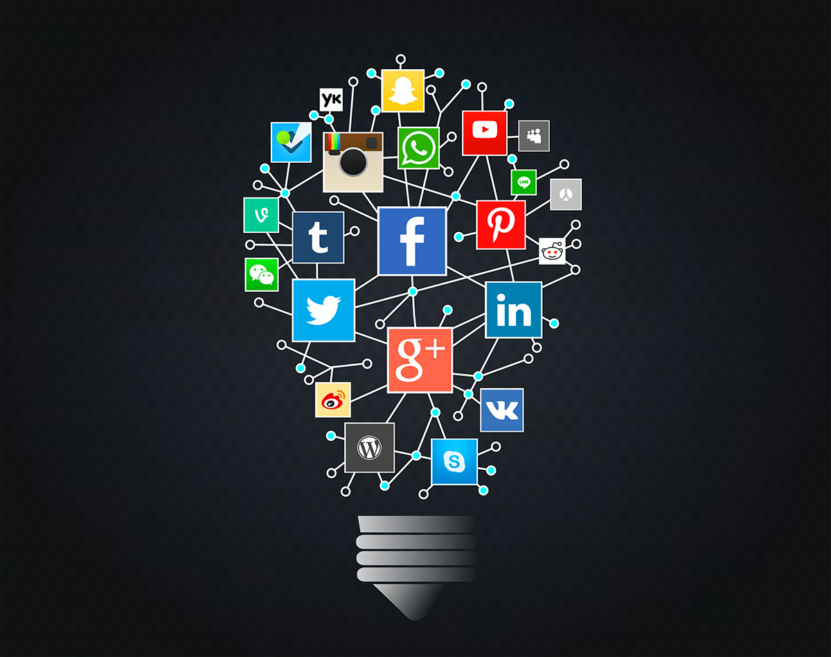 a lightbulb showing different social media platforms that are connected and offer free promotions
