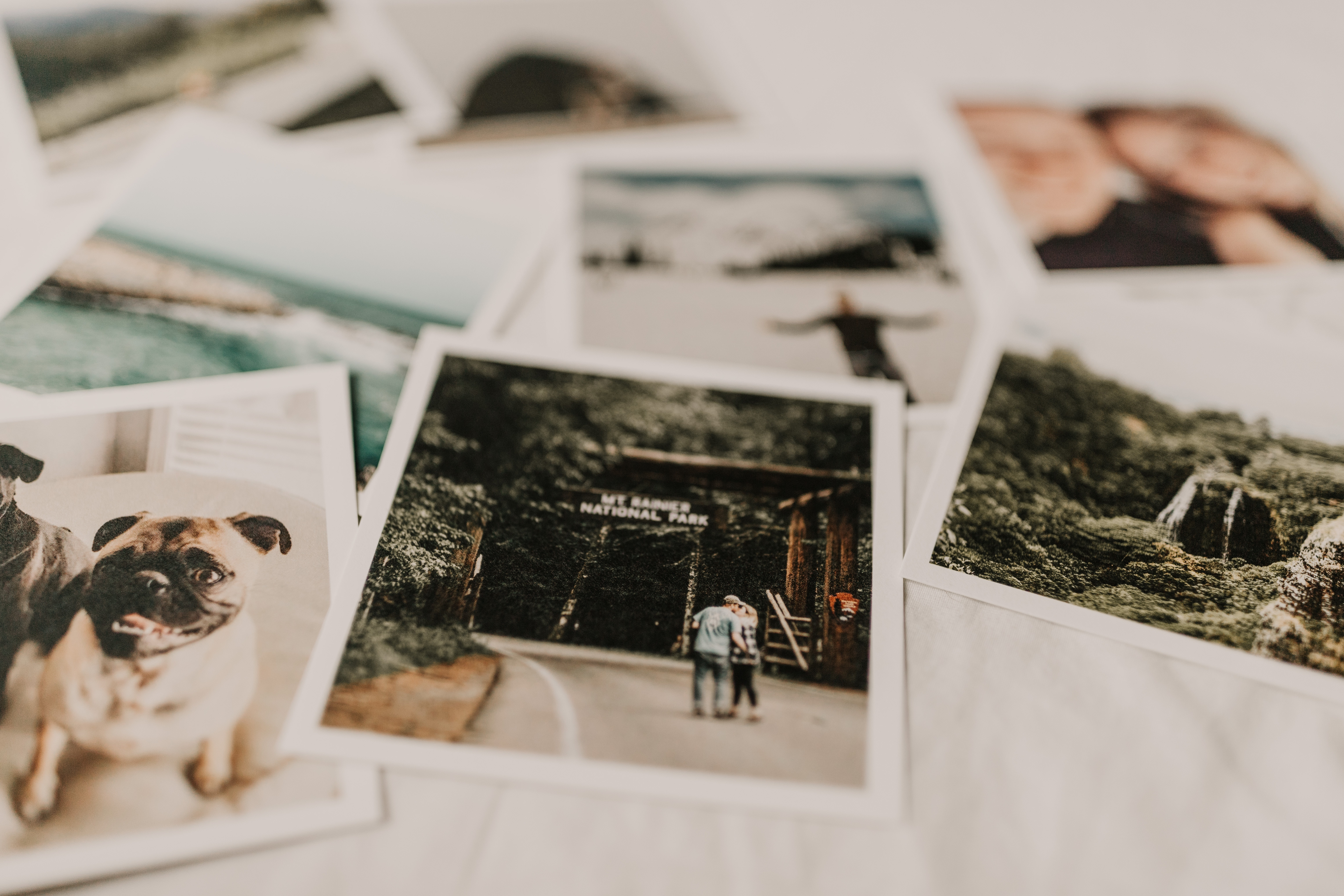 flatlay of polaroid images